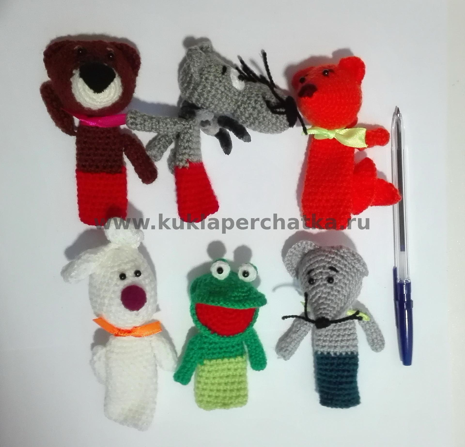 теремок набор пальчиковых кукол вязаный
